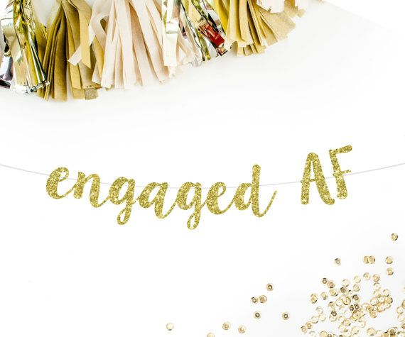 Engaged AF Cursive Banner | funny engagement party decorations bachelorette party decorations banner sign gold pink silver black engaged AF