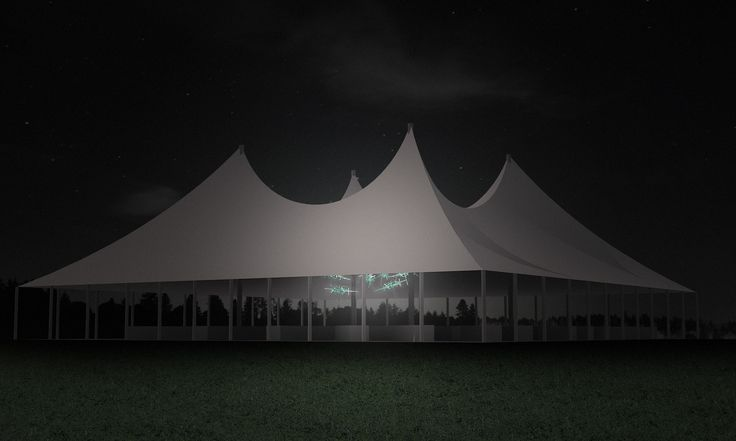 A rendering of the 23rd Annual Watermill Center Summer Benefit & Auction event, including the La Traviata installation, designed by Robert Wilson. www.slamp.com