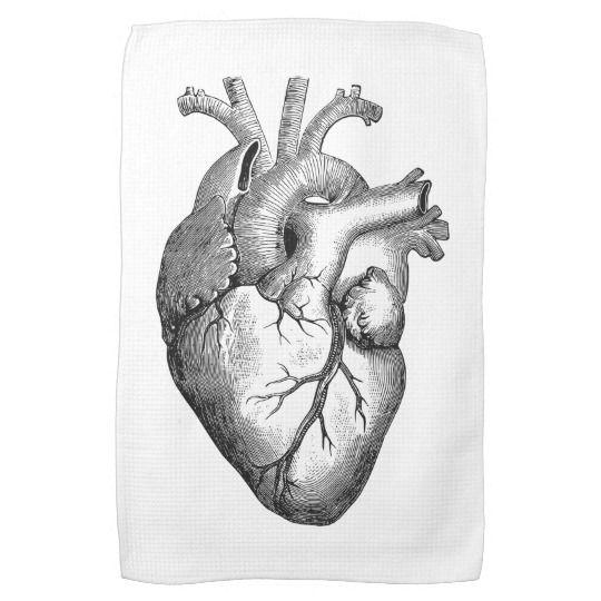 Simple Black White Anatomy Heart Illustration Kitchen Towel   Zazzle.com