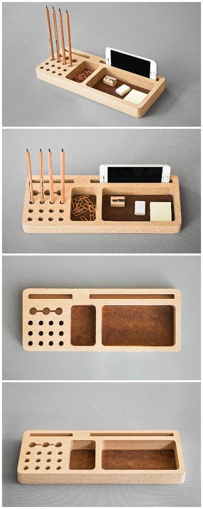 Leather Desk Organizer Wood Industrial Desk Accessories Tray Etsy In 2020 Leather Desk Organizer Diy Makeup Storage Organizers Desk Organization Diy