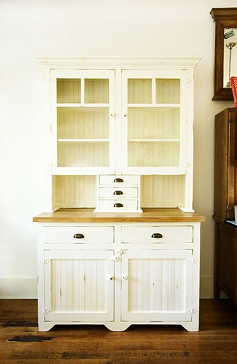 """Also called a """"Hoosier"""", these appealing, vintage-style kitchen hutches are both charming and utilitarian. Available in many custom options. From Stepback"""