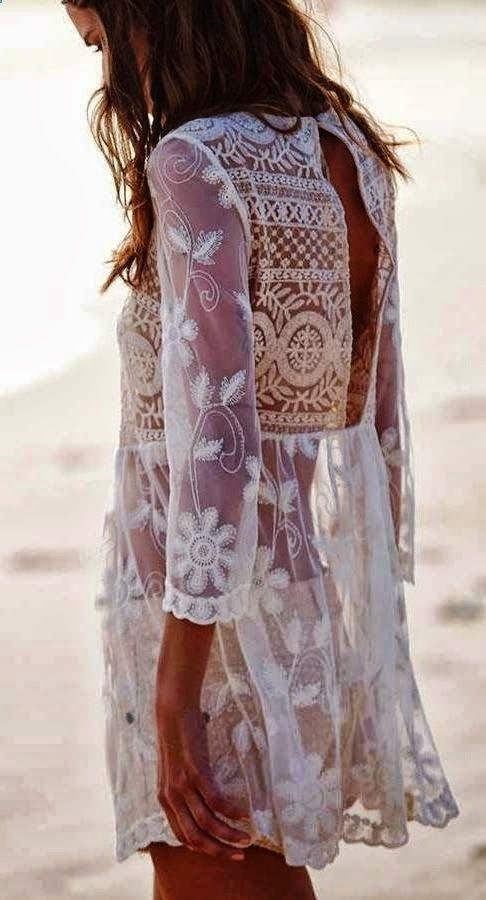 Boho White long sleeve lace mini dress