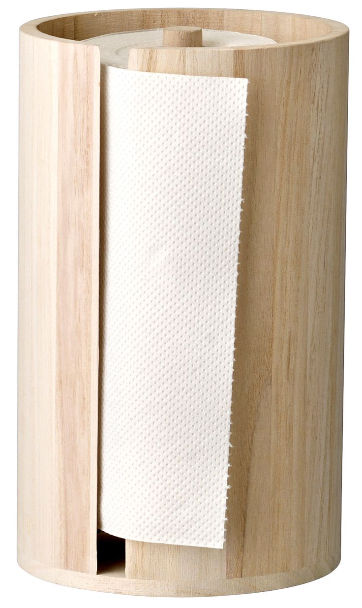 Features: -Material: Paulownia wood. -Color: Natural. -Contemporary style. Product Type: -Paper Towel Holders. Material: -Wood. Color: -Natural. Dimensions: Overall Height - Top to Bottom: -11.