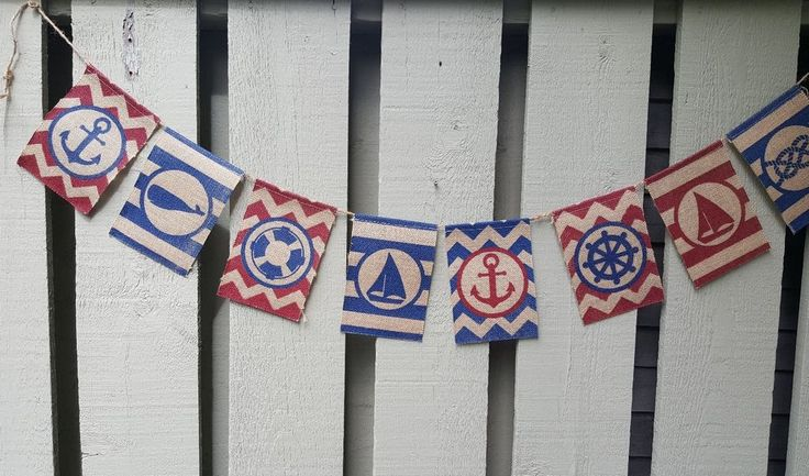 Nautical Banner Flags Garland Pennant Burlap 6 Ft Party Boat Shower #Nantucket