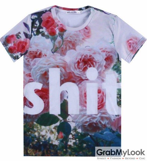 GrabMyLook Shit in Roses Flower Floral Garden Men Short Sleeves T Shirt