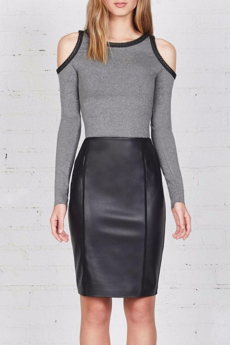 The Bailey44 Harlow Top is a super soft, heavy stretch jersey long sleeve top with flirty cold shoulder cut-outs and contrast eco leather trim detail. Take this sleek style from day to night by pairing it first with a black pencil skirt, then with a leatherette skinny pant. Dry clean only. This style generally runs true to size, but it very fitted. Customers in between sizes may want to size up.   Harlow Top by Bailey 44. Clothing - Tops - Long Sleeve Atlanta, Georgia