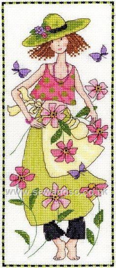 0 point de croix femme été - cross stitch girl in summer flowers