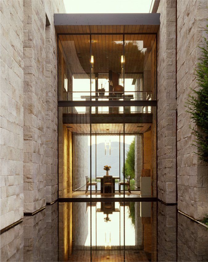 Water, wood, stone, steel, glass, height, light & view to outdoors