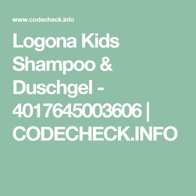 Logona Kids Shampoo & Duschgel - 4017645003606 | CODECHECK.INFO