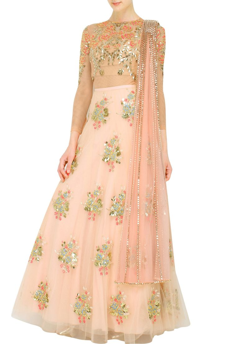 'Papa Don't Preach' Peach body suit paired with peach lehenga