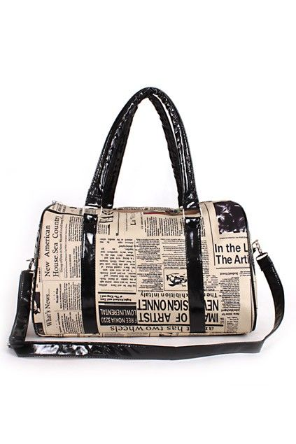 Oversized shoulder bag crafted in PU, featuring all over newspaper print to the main, a zip top fastening, twin grab handles and a detachable long shoulder strap, chic and easy matching.