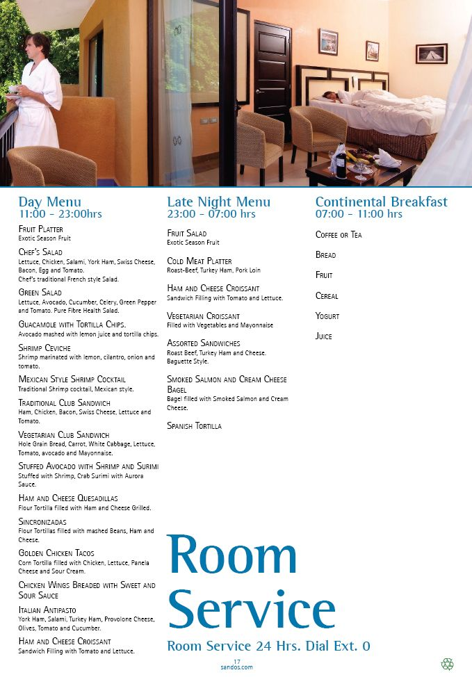 Sandos Playacar's room service menu!  Looking for all the things you can order and never leave your room?  Want to know what type of room service Sandos Playacar offers their guests?