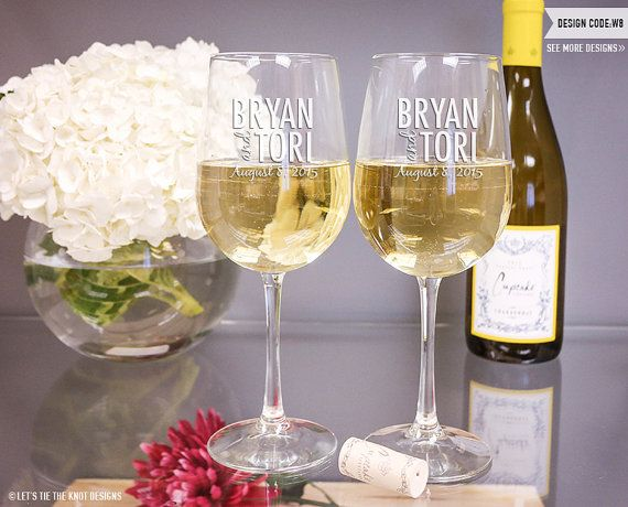 Personalized Wedding Gift  TWO Vina Wine Glasses by LetsTieTheKnot, $34.95