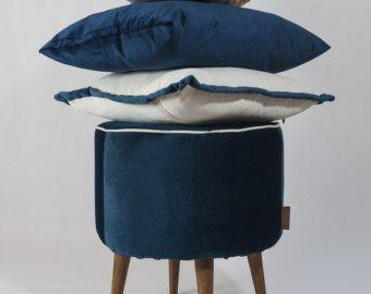 BLUE VELVET - Unique, original set - pouf (footstool, ottoman) and three cushions - Edit Listing - Etsy