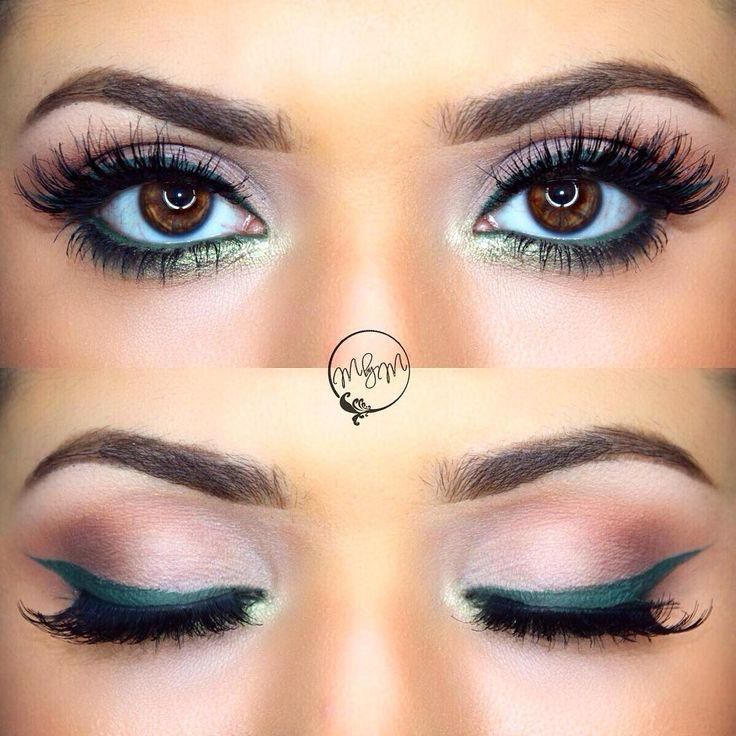 neutral eye w/ green @makeupbymeggan : muted green winged liner + waterline, pop of light green on the lower inner corner | #color #makeup #eyeliner