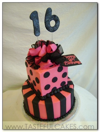 cake pink and black hot bright sweet sixteen 16th birthday girl woman tag girft present stripes bow ribbon stacked glitter teenage young #Artsandcrafts