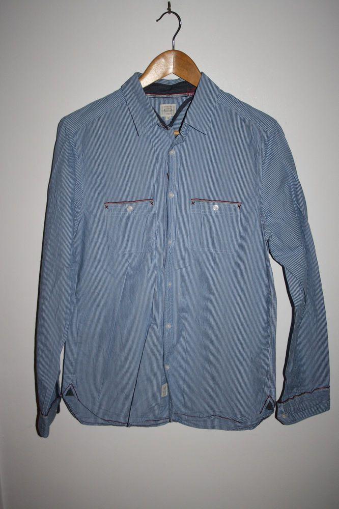 2d0d65a2b White Stuff Designer Blue Striped Men s Long Sleeve Shirt Cotton Casual  Slim M