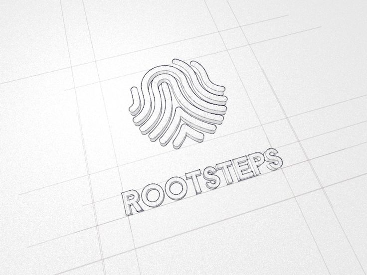 The Rootsteps Brand Logo with body sub sketch and a #3d styled look, to visualize the size and proportions that needed to match both square and circular divided spaces. #typography #branding #logo #design  http://www.rootsteps.nl