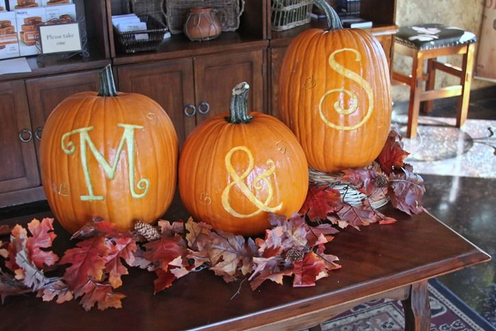 carved pumpkins for fall party table. lol i seen this pin and thought, how perfect :)
