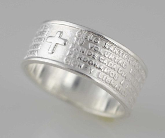 Sterling Silver Our Father Lord Prayer Ring (in Spanish), Silver Lord's Prayer Band Ring, Padre Nuestro Lords Prayer Ring Silver Band