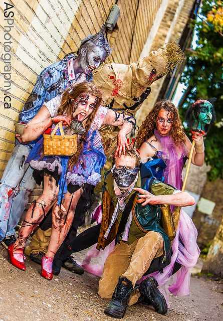 Dorothy, Scarecrow, Tin Man, Cowardly Lion, Toto, and the Good Witch of the North from Wizard of Oz Zombie Style by andreas_schneider, via Flickr