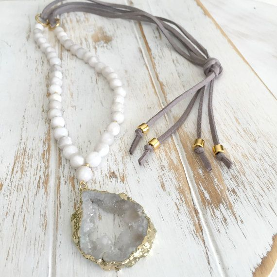 Suede Necklace | Long White Agate Necklace | Druzy Bohemian Necklace | Leather Necklace | Faux Suede | Beaded Necklace | Quartz Druzy