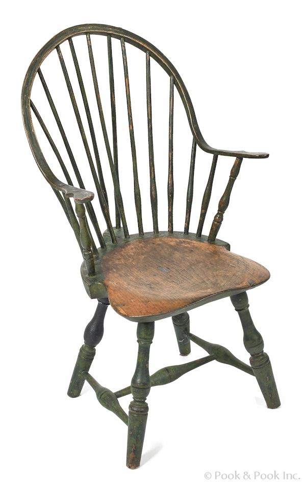 New England Braceback Continuous Arm Windsor Chair, Late 18th C., Retaining  Its Original