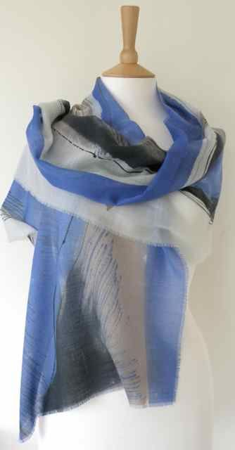 Dionne Swift : Blue Landscape Scarf Hand painted fine wool 195 x 45cm http://www.dionneswift.co.uk