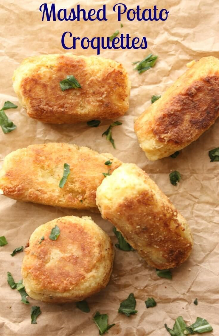 Mashed Potato Croquettes, leftover mashed potatoes become a delicious side dish, crunchy on the outside and soft on the inside potatoes. via /https/://it.pinterest.com/Italianinkitchn/