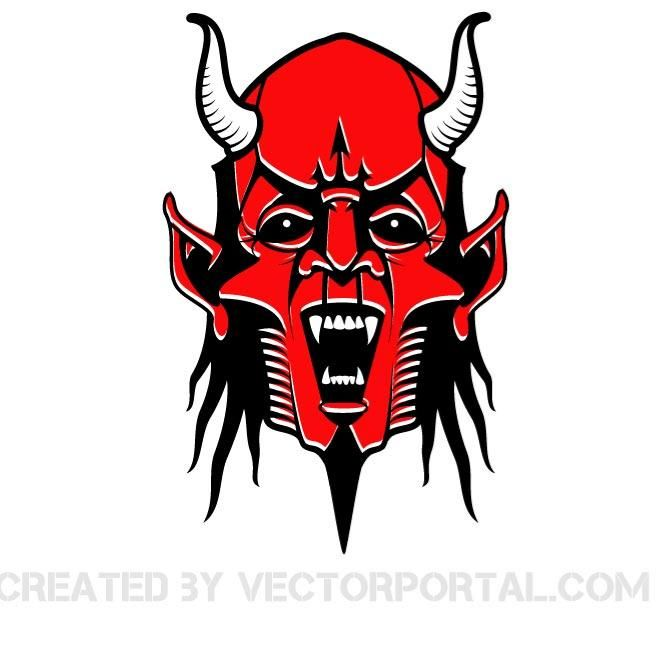 Face of the red devil vector illustration.