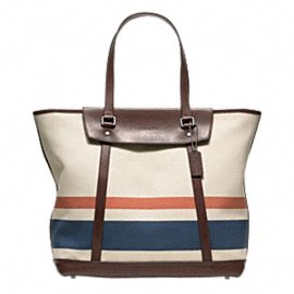 Coach new bleecker striped canvas hamptons tote
