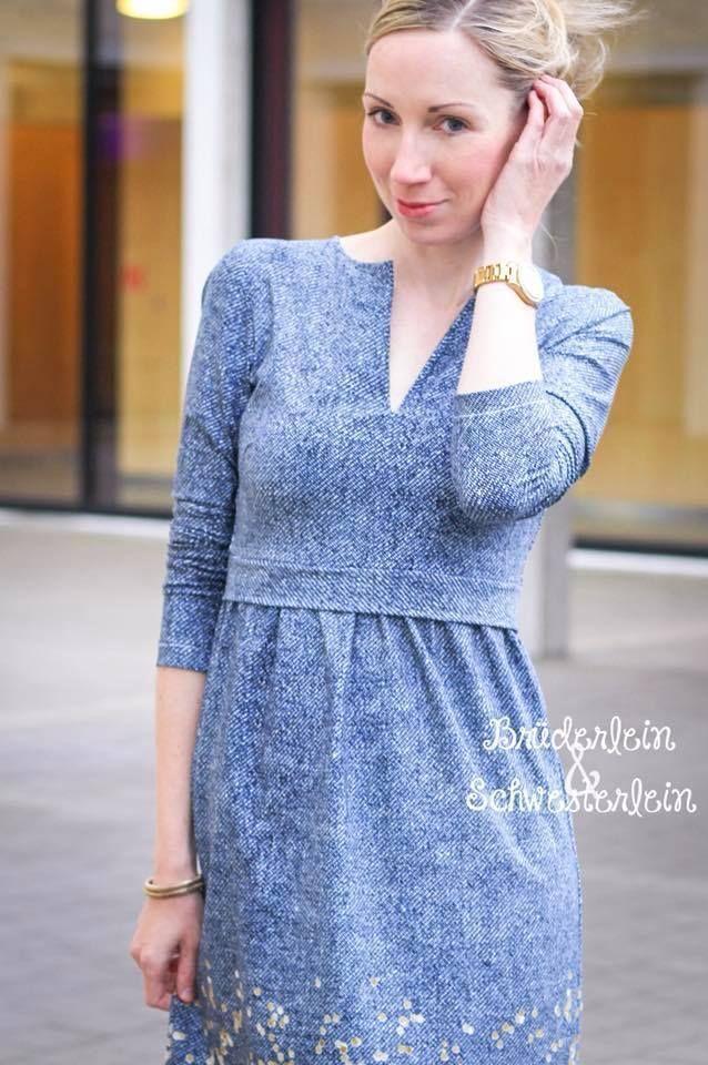 88013be0066 Schickes Kleid für den Frühling und Herbst einfach selber nähen mit dem  Schnittmuster Elisabeth von Konfetti