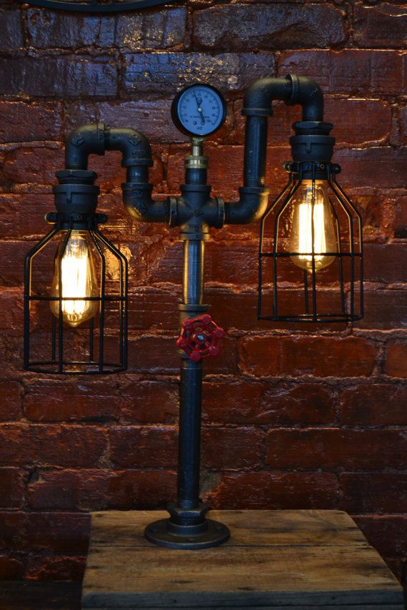 Noche industrial de lámpara tubo tubo por WestNinthVintage