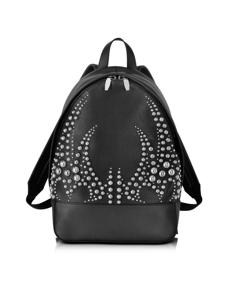 Alexander Wang Black Soft Plebbed & Studded Leather Bookbag at FORZIERI