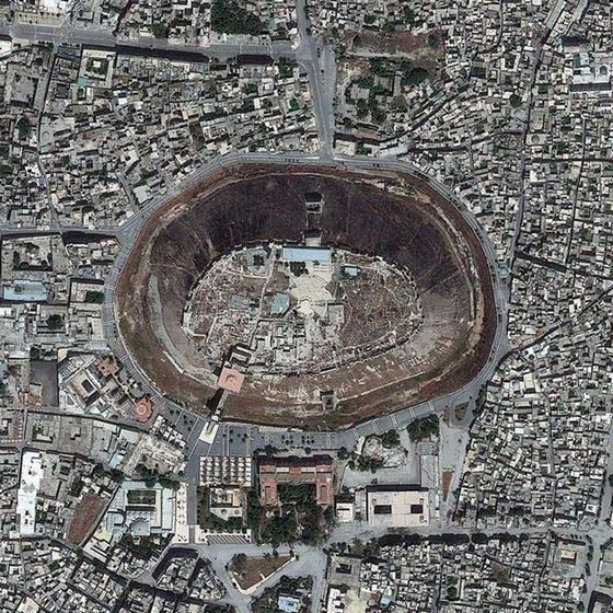 medieval part of Aleppo, Syria, aerial view