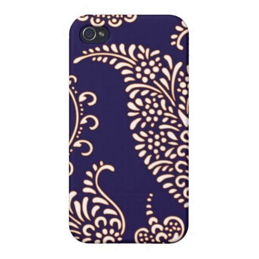 Navy cobalt peacock blue paisley chic girly henna floral vintage preppy wallpaper pattern iphone 4 4S case cover.
