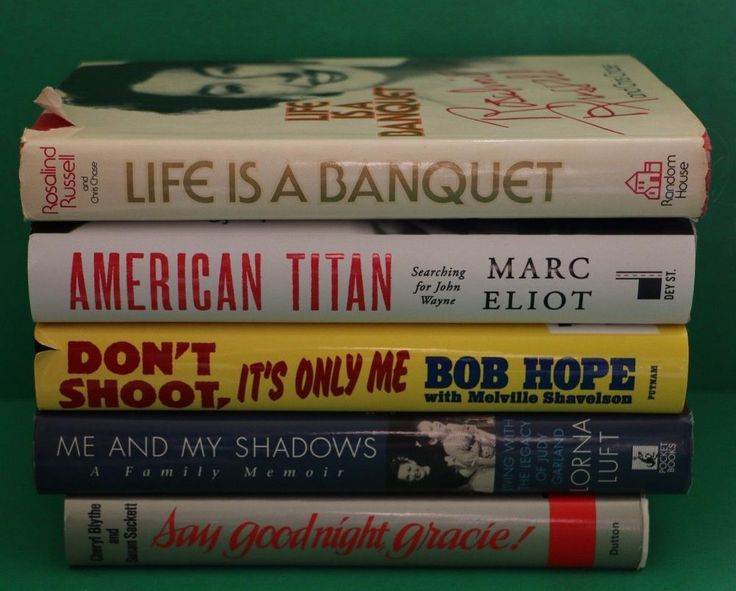 Lot of 5 Hardcover Celebrity Memoirs Biography books Bob Hope John Wayne & more Father's Day Gift Idea for Dad or Grandpa Grandfather Adult Vacation Reading