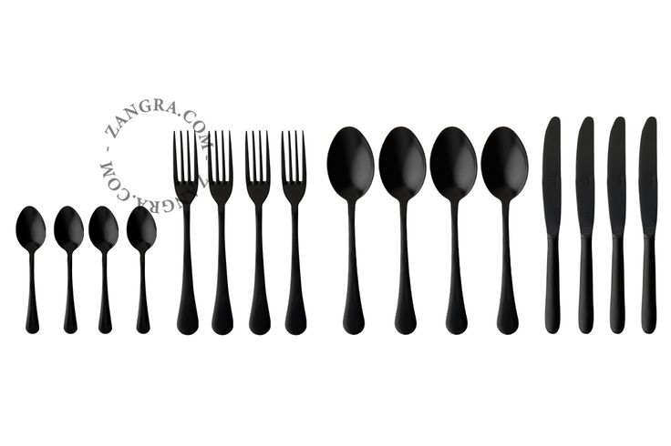 mat zwart bestek - 16 stuks