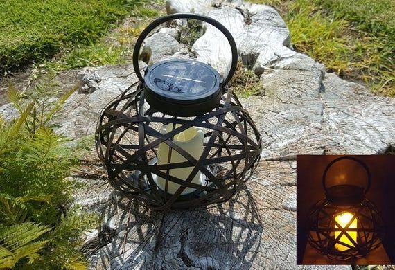 Christmas Gift Solar Metal Rattan Oval Lantern Illuminate LED Candle Light