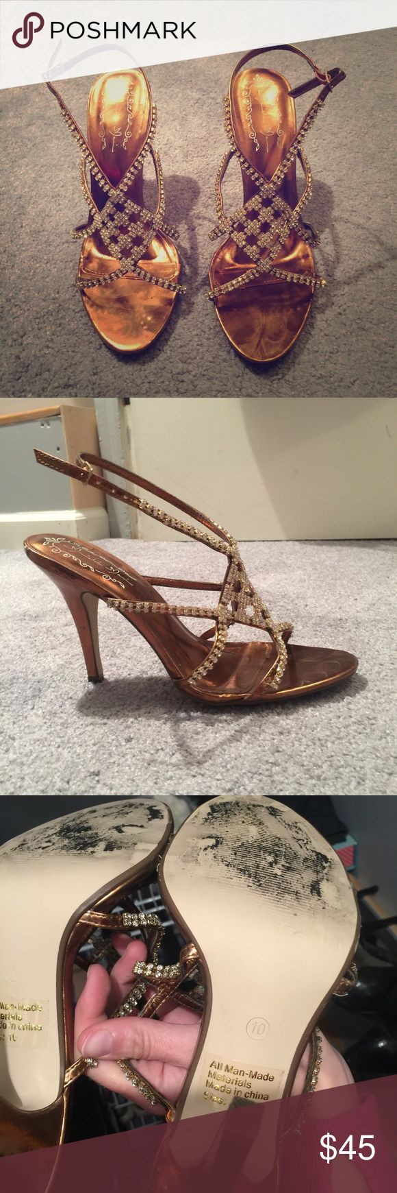 Gold Strap Heel with Jewel Detail. Gold Strap Heel with Jewel Detail. Size 10. Worn once to a wedding. Minor scuffs on the bottom. Shoes Heels