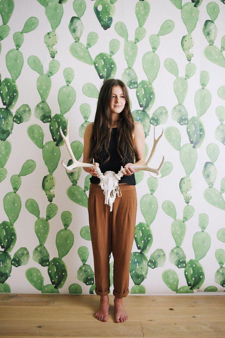 Papel+pintado+para+paredes+con+cactus