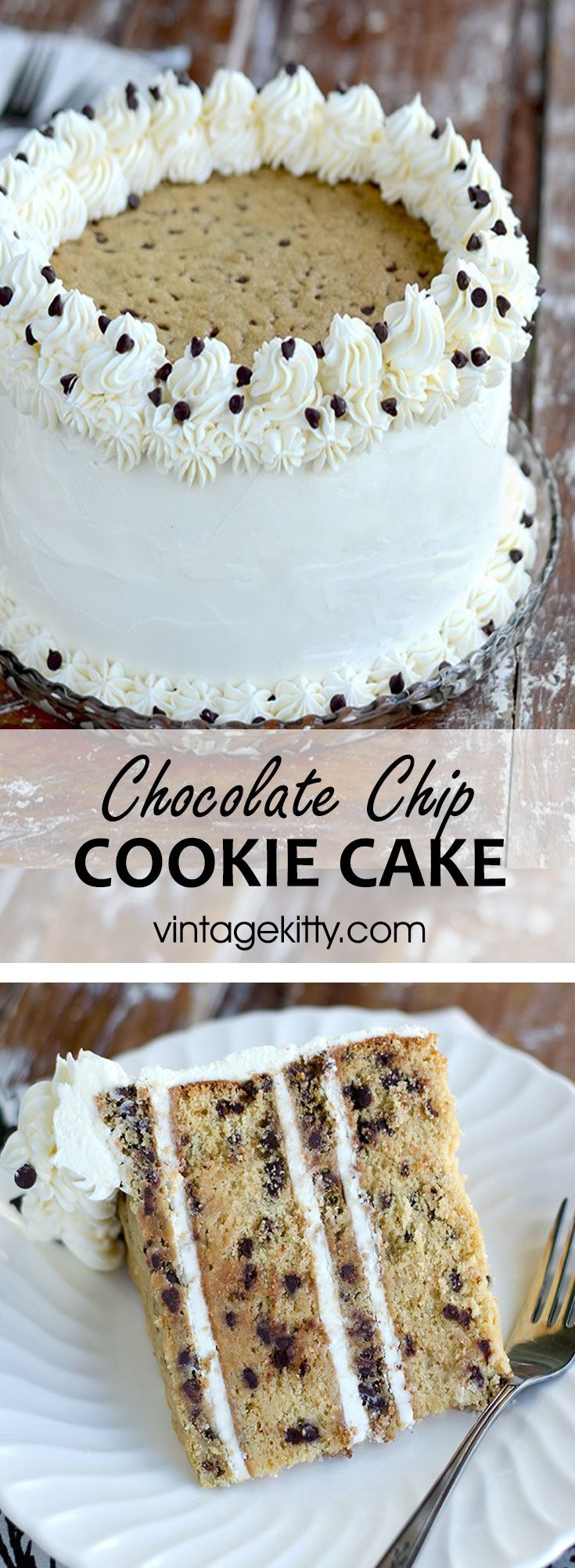 This made from scratch Chocolate Chip Cookie Cake will blow your mind! Layers of cookie flavored cake alternating with vanilla bean, browned-butter chocolate chip cookies and fluffy, vanilla buttercream!