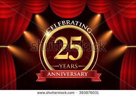 25 years anniversary celebration with red ribbon. Curtain background and light shine. golden anniversary logo. - stock vector