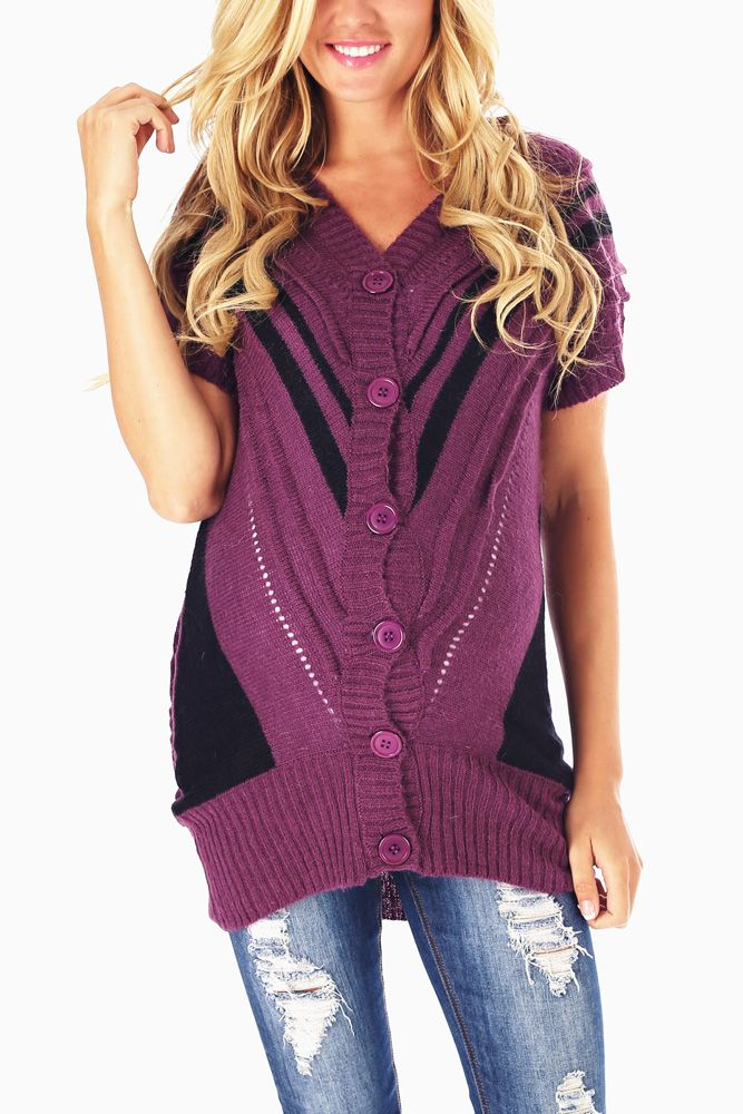 Purple-Black-Button-Up-Knit-Maternity-Cardigan #maternity #fashion #cutematernityclothing #cutematernitytops #falloutfits #falltrends