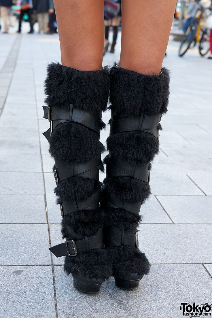 Details about women luxury diamond fashion snow boots rabbit fur boots - Black Diamond Gyaru Yui W Cross Top Knee High Furry Boots In