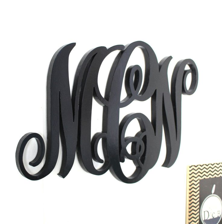 monogramme de mariage en bois noir personnalisé -mylittledecor - décoration mariage - : Décorations murales par mylittledecor