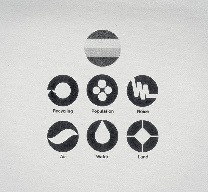 이 그림은 원 안에 흑백의 색상 만으로 어떤 추상적인 현상 및 개념에 대한 상징적 도안이다. 기하학적 문양을 이용하였으며 구도, 면적, 형태의 변화로 다양한 의미를 전달한다. Retro Corporate Logo Goodness