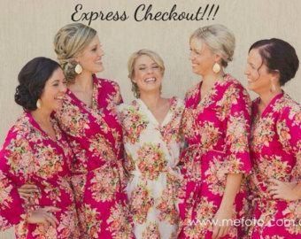 Wit-bruidsmeisjes gewaden Kimono Crossover gewaden door silkandmore