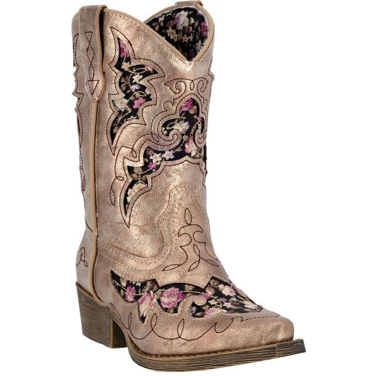 Laredo Childrens Gold Sabre Faux Leather Cowboy Boots Floral