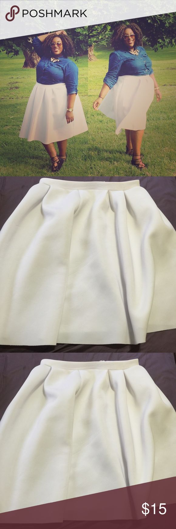 White midi from Charlotte Russe! Who said you can't wear white after Labor Day? After all, we're all wishing for a white Christmas! ;) Size 3X. Ordered originally from Charlotte Russe online. Charlotte Russe Skirts Midi